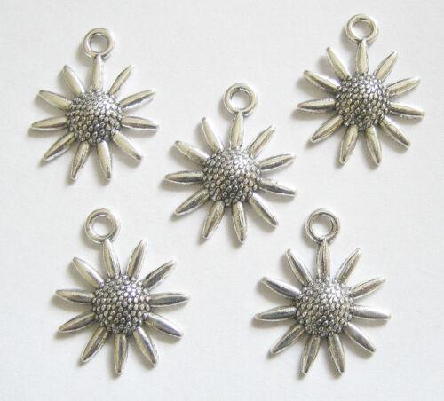 10 Metal Antique Silver Colour Sunflower Charms 23mm