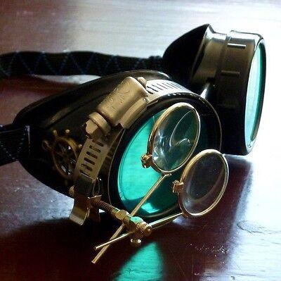 Steampunk goggles glasses welding diesel punk biker goth cosplay rave lens rsw