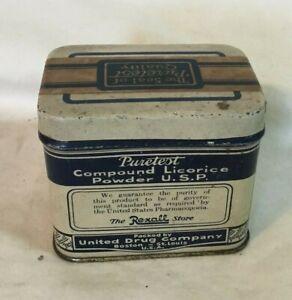 Vintage-Advertising-Tin-REXALL-PURETEST-COMPOUND-LICORICE-United-Drug