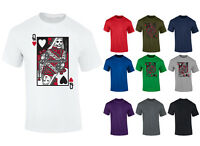 Mens Evil Queen Of Hearts Playing Cards T-shirt S-XXL