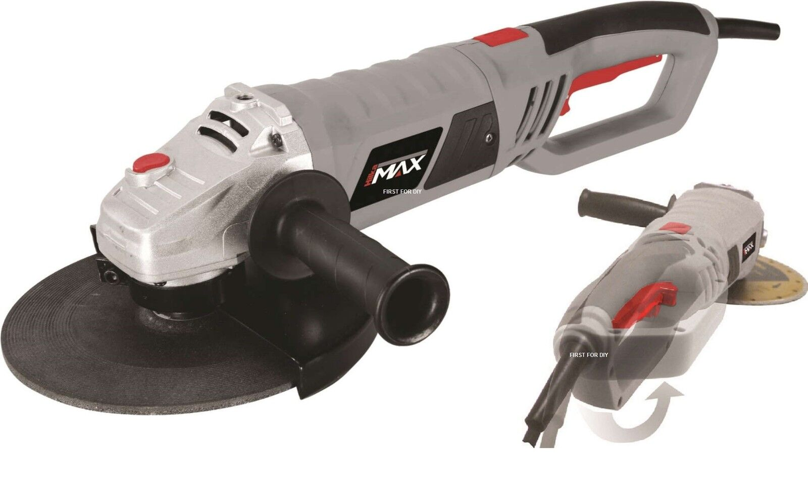 HEAVY DUTY HILKA 2400W 9  230MM ELECTRIC ANGLE GRINDER 6500RPM 180 DEGREE HANDLE