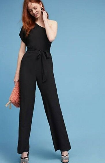New NWD Anthropologie Greylin Renee One Shoulder Jumpsuit Romper Tie Waist Large