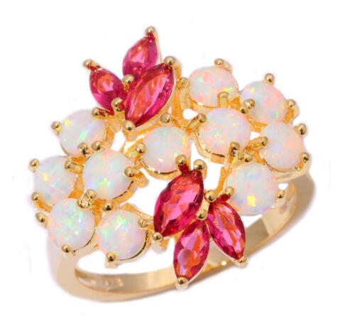 White Fire Opal Tourmaline Women Jewelry Gemstone Silver Yellow Gold Ring OJ6223
