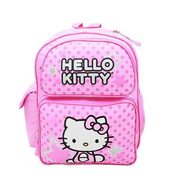 Hello Kitty Star Pink Girls Kids Large Black//Pink Backpack//School//Book Bag