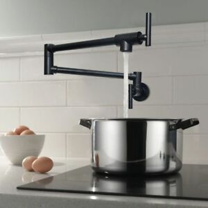 Details about Pot Filler Kitchen Faucet Folding Swing Arm Wall Mount Tap  Only Cold Water Black