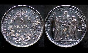 5-FRANCS-1873-A-FRANCE-argent-silver-Hercule-Patine-noire