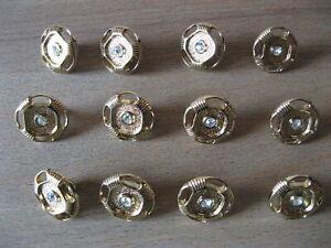 11-Knoepfe-Gold-Innenteil-Einsatz-in-Diamant-Optik-glaenzend-15-mm-Steg-NEU