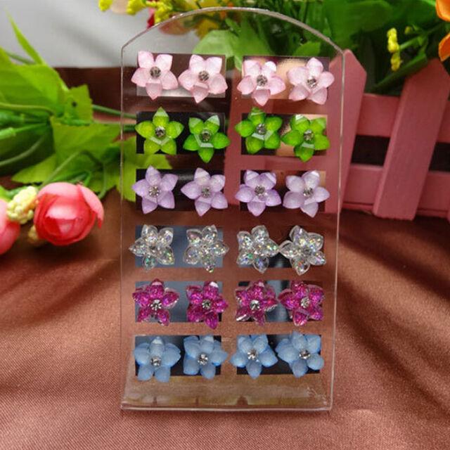 4/12 Pairs Women Girls Fashion Jewelry Resin Crystal Flowers Ear Stud Earrings