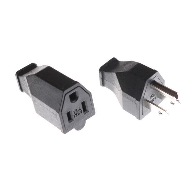 AC 125V 15A 3 Pin  Power Cord Connector US Plug Converter High PerformanceJH