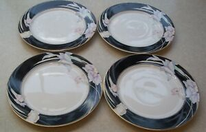 MIKASA CHARISMA BLACK L9050 FINE CHINA MADE IN JAPAN SET OF 4 SALAD PLATES  7.5""