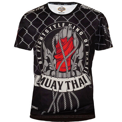 Muay Thai T-Shirt Born to Be Tech Quick Dry MMA Running Thai Boxing Gear Gym