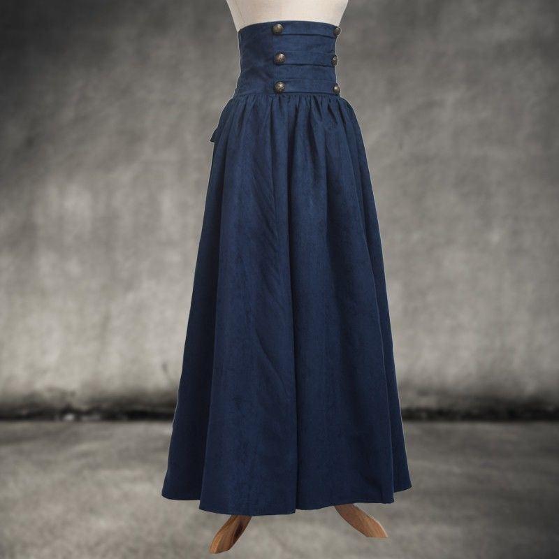 Vintage Lady Victorian High Waist Ruffle Skirt Steampunk Walking Skirt  4 Colors