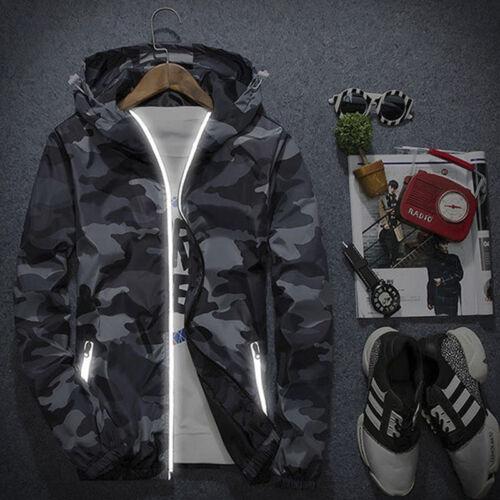 Men/'s Slim Camo Hoodie Thin Hooded Sweatshirt Coat Jacket Outwear Sport
