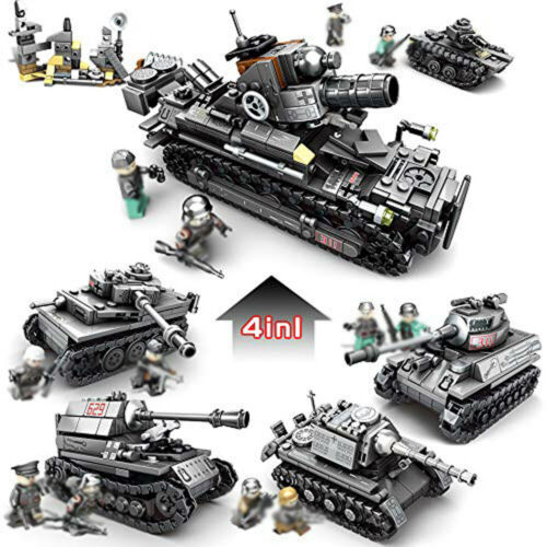 4in1 WW2 Militär Panzer Tank Modell mit Soldat Figuren Bausteine Spielzeug Toys