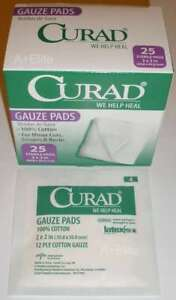 MEDLINE-CURAD-Sterile-Gauze-Pads-12-Ply-2-034-x2-034-100-Cotton-25-BX-CUR45600-Pro-New