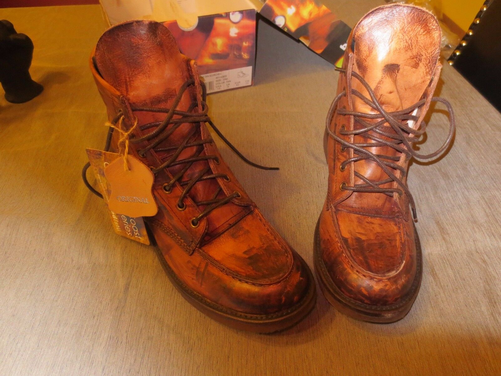 Men's Brown Leather Lace Up Boot Size 10