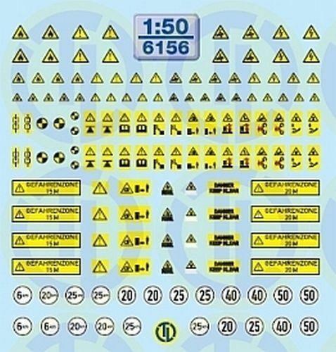 6156 Decals Warntafeln für Baumaschinen 1:50