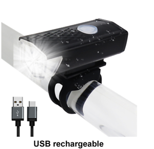 Bike-Light-USB-Rechargeable-300-Lumen-3-Mode-Bicycle-Front-Light-Head-NEW-A32