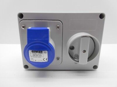 Gewiss GW66004 Blue 16A 230V Wall Mounted Socket Horizontal Interlocking IP44