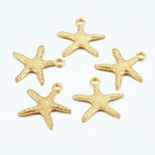 BULK Charms Starfish Charms Shiny Gold 50 pieces Wholesale Charms Ocean Charms