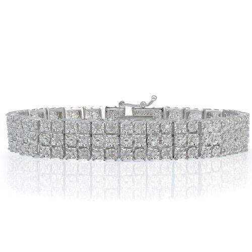 1.00 Ct TDW Diamond Miracle Set 3-Row Tennis Bracelet en laiton