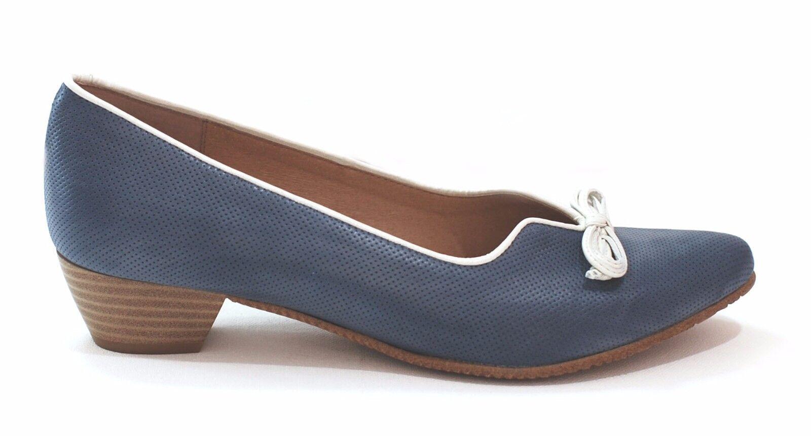 Schuh Pumps Schnürer Damen blau weiß LUXUS Nappa Leder Lederfutter 46909