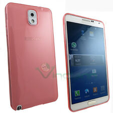 Custodia PERFECT FIT rosa per Samsung Galaxy NOTE 3 N9005 cover semi trasparente