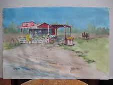 Long Island Artist Ed Schramm Watercolor Covey's Farm Stand