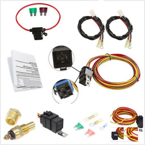 Details about Dual Electric Car Cooling Fan Wiring Harness Kit Thermostat on