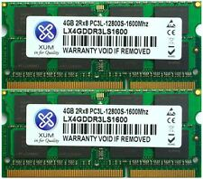Xum 8GB 2x4GB DDR3L PC3L-12800S 1600MHz Unbuffered Laptop Memory RAM Low Voltage