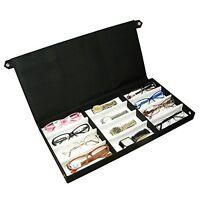 Eyeglasses Box Sunglasses Case Eyewear Display Storage Fabric Organizer 12 Pairs