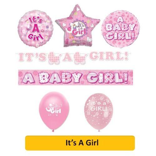 Es una chica Nuevo Bebé Ducha Pink Party Banderas Globos Servilletas /& Decoraciones