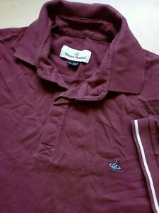 Mens-Vivienne-Westwood-Burgundy-Fitted-Short-Sleeve-Cotton-Polo-Shirt-Size-XL