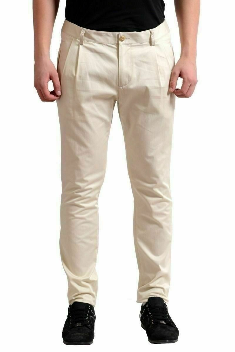 Dsquared2 Hombre Crema Plisado Informal Pantalones Us 30It