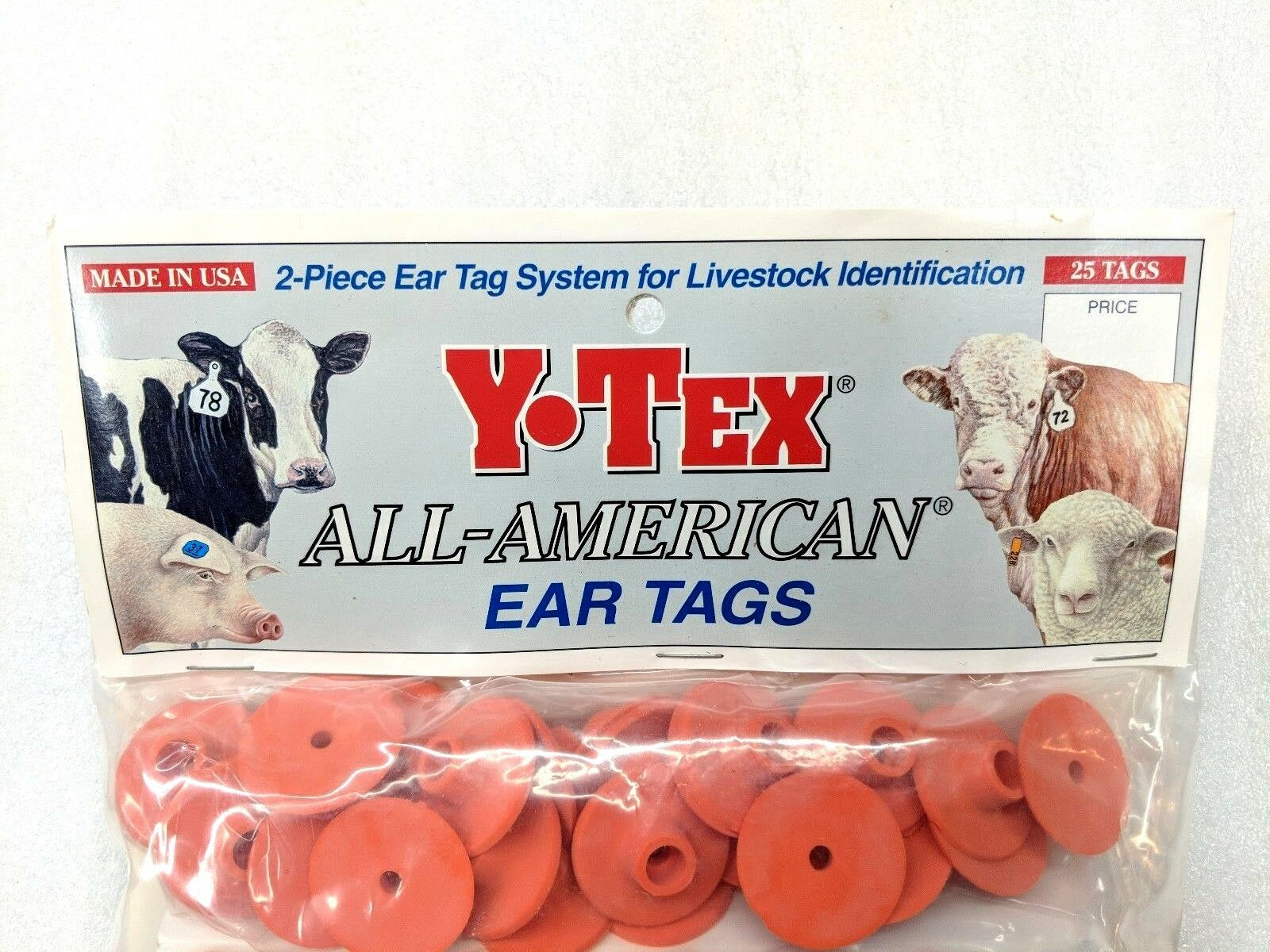 Y-TEX LARGE 4-STAR TAGS Adult Cattle Fade Tear Resistent #26-50 Red 25ct pkg