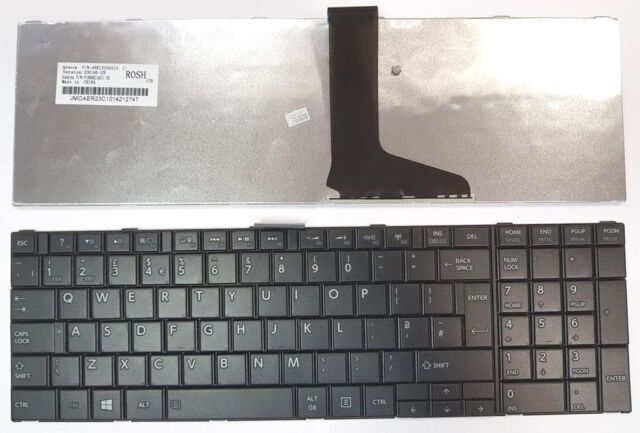 For TOSHIBA SATELLITE C855-10Z BLACK KEYS UK KEYBOARD FRAME