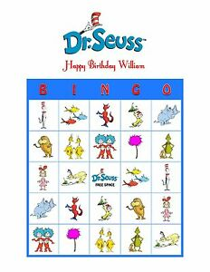 Details About Dr Seuss Cat In The Hat Lorax Personalized Birthday Party Game Bingo Cards