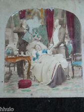 STA348 colorisé colorized Femme lit salon sofa STEREO albumen Photo Stereoview