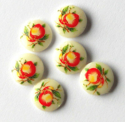 Vintage Cabochon Limoges Fruit  Apples Japan Cabs Cabochons Retro NOS #1005