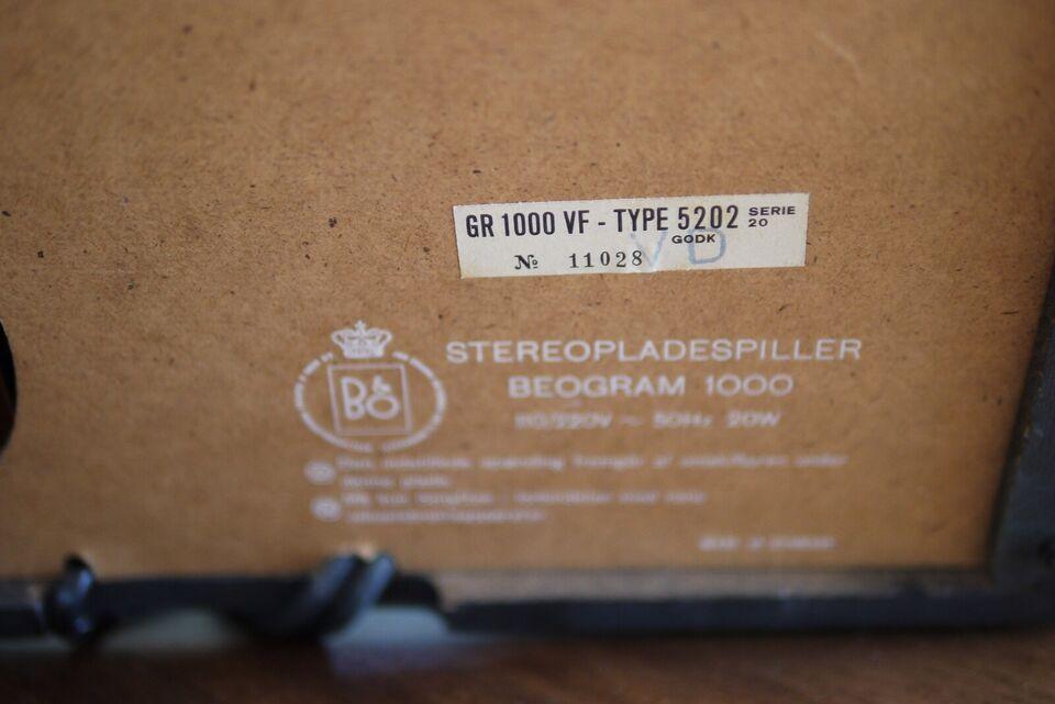 Pladespiller, Bang & Olufsen, 1000VF