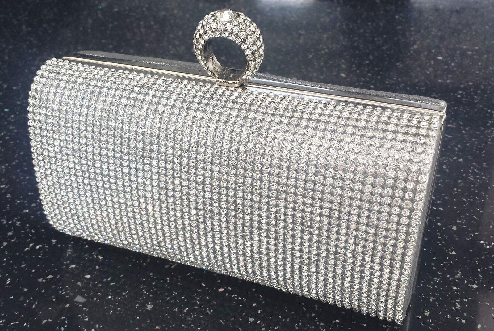 Bling Silver Diamante Diamond Crystal Evening bag Clutch Purse Party Prom Bride