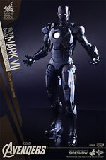 "Sideshow Hot Toys Exclusive Iron Man Mark VII Stealth Mode Version 12"" NIB LED !"