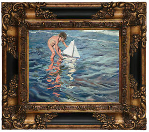 image is loading sorolla the little sailing boat 1909 wood framed - Wood Frames For Canvas