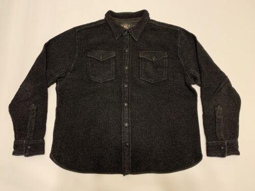 RRL Black Indigo Cotton Linen Work Shirt Sweater-X