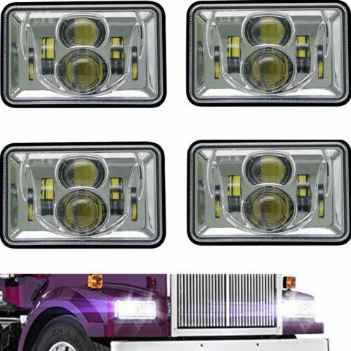 "Chrome 4/""x6/"" Led Headlights For Peterbilt Freightliner Western Star 4900 Semi"