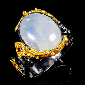 Handmade10ct-Natural-Moonstone-925-Sterling-Silver-Ring-Size-9-R125331