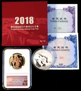 2018-China-Panda-Singapore-Fair-Show-Commemorative-Silver-amp-Tri-metal-2-Coin-Set