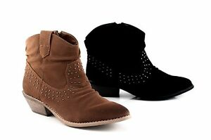 Therapy-CARDIFF-Casual-Lady-Low-Heel-Ankle-Boot-Studs-Zip-Black-Tan-5-6-7-8-9-10