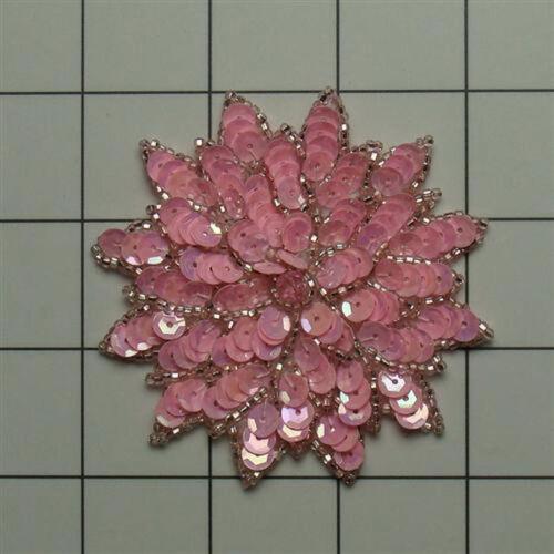 PINK  SEQUIN BEADED FLOWER APPLIQUE  2695-A