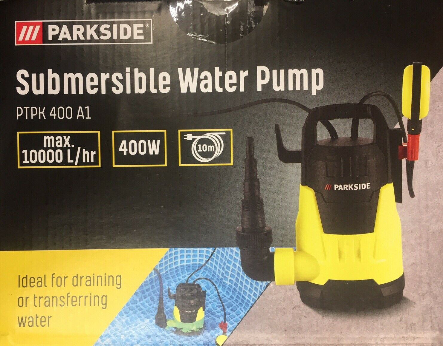 Parkside Sumbersidle Water Pump 400w 10000L /hr Made In Germany New 2020